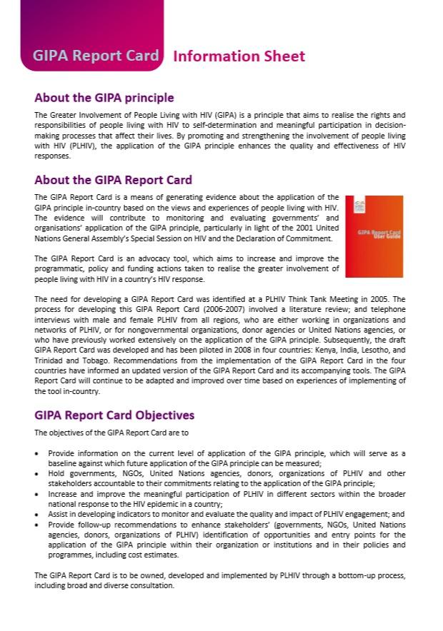 GIPA Report Card Information Sheet
