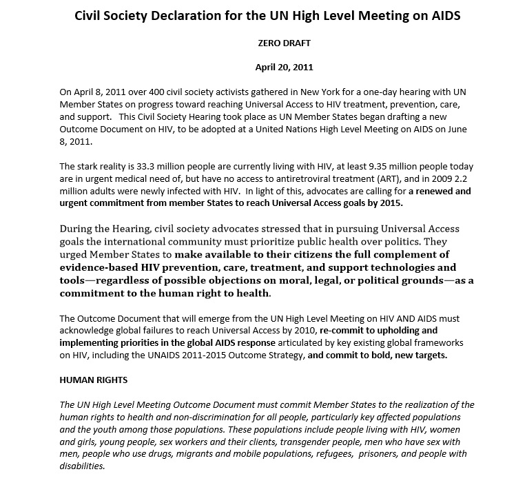 Civil Society Declaration for the UN High Level Meeting on AIDS 2011