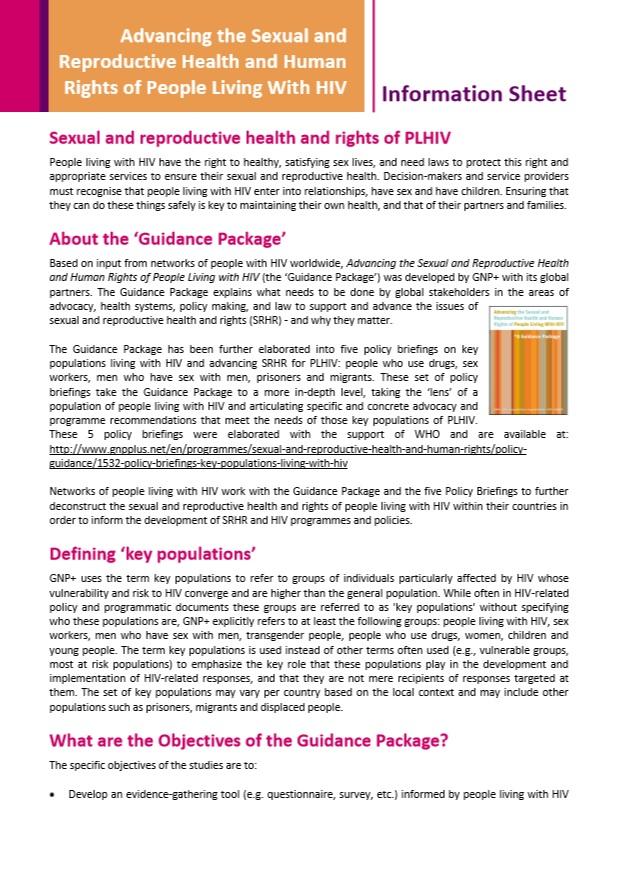 SRHR Guidance Package Information Sheet
