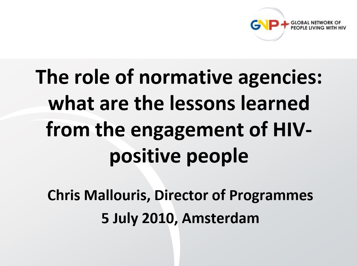 The Role of Normative Agencies: Lessons from the Engagement of HIV-positive People