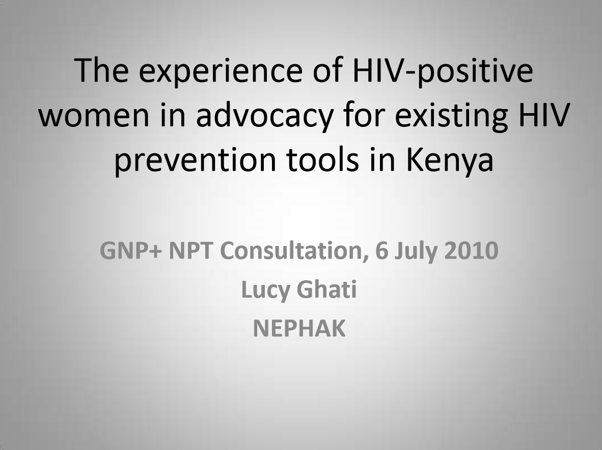 The Experience of HIV-positive Women in Africa Engaged in NPT Efforts