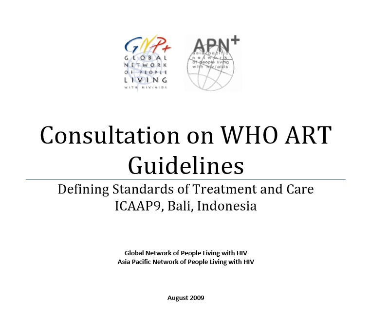 Consultation on WHO ART Guidelines Defining Standards of Treatment and Care