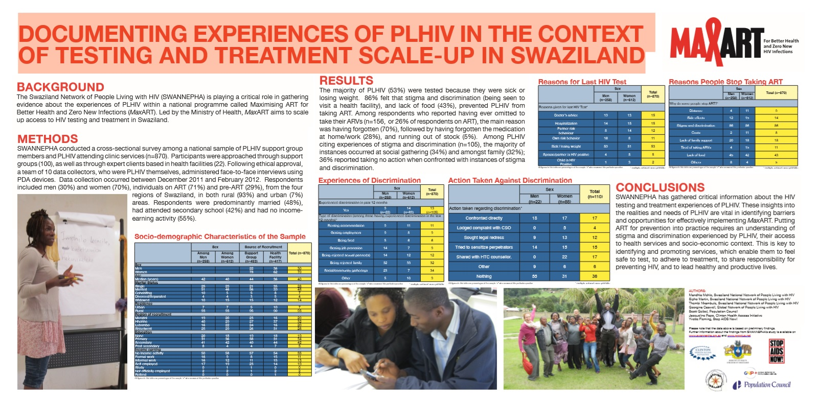 Documenting experiences of PLHIV in the context of testing and treatment scale-up in Swaziland
