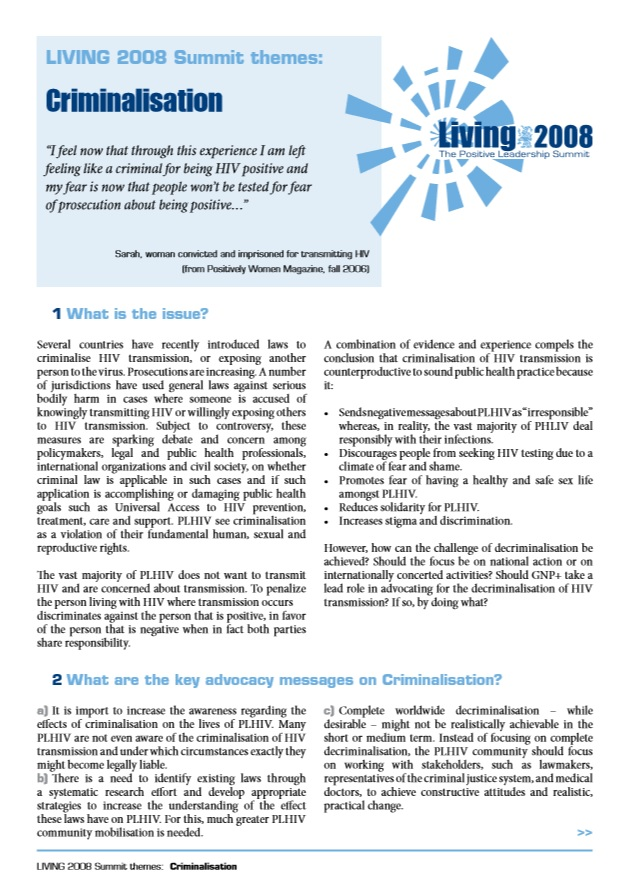 LIVING2008 Criminalisation Working Group Statement